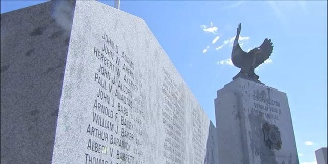 The World War II memorial in South Boston was discovered vandalized on Monday.