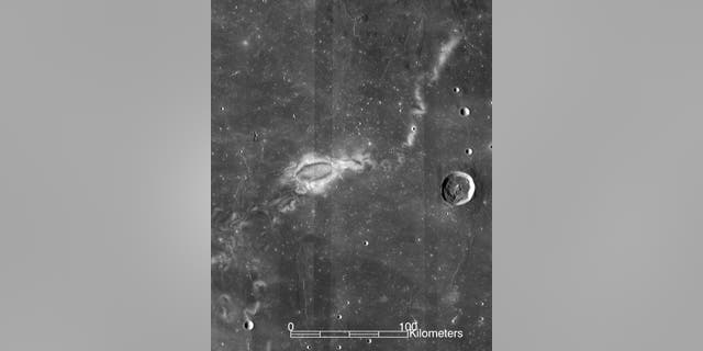 Research using data from NASA's ARTEMIS mission suggests that lunar swirls, like the Reiner Gamma lunar swirl imaged here by NASA's Lunar Reconnaissance Orbiter, could be the result of solar wind interactions with the Moon's isolated pockets of magnetic field. (Credit: NASA LRO WAC science team)