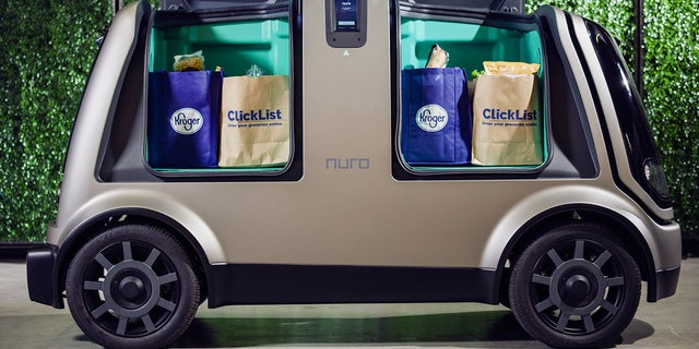 Close adult of Nuro's self-driving vehicle