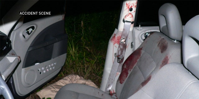 Accident scene photo from Betty Schirmer's car crash.
