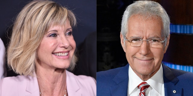 Olivia Newton-John and Alex Trebek