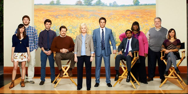 """The cast of """"Parks and Recreation"""" from Season 3: Pictured from l-r: Aubrey Plaza as April Ludgate, Chris Pratt as Andy Dwyer, Adam Scott as Ben Wyatt, Nick Offerman as Ron Swanson, Amy Poehler as Leslie Knope, Rob Lowe as Chris Traeger, Aziz Ansari as Tom Haverford, Retta as Donna, Jim O'Heir as Jerry Gregich, Rashida Jones as Ann Perkins."""