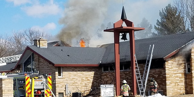 Fire at The Springs United Methodist Church in Plover, Wis.