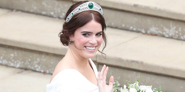 Princess Eugenie, pictured at her wedding in October 2018, shared a note about healthcare workers amid the coronavirus pandemic.