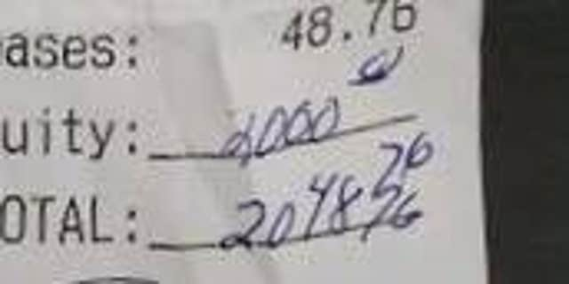 The anonymous man left a substantial tip on his bill.