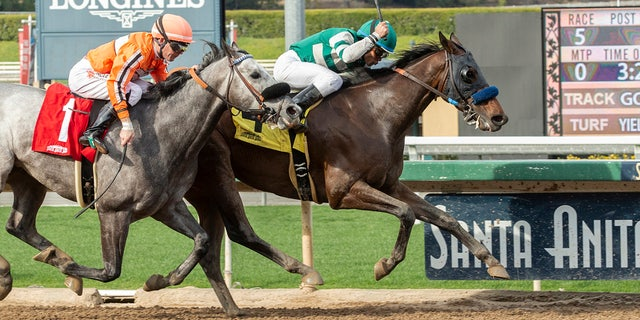 Edwards Goons of Hronis Racing Left Left and Jockey Joel Rosario, right, behind King King Abner (Tyler Baze), left to join the $ 100,000 Tiznov stakes on Sunday, March 3, 2019 at Santa Anita Park win in Arcadia, California. (Benoit photo via AP)