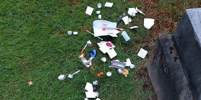 Groundskeepers frequently find trash and other debris at the cemetery.