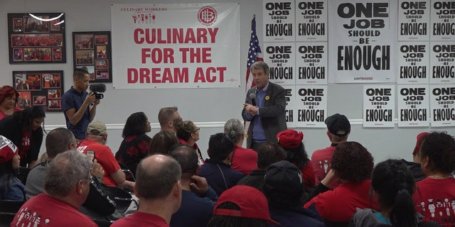 Sen. Sherrod Brown talks advocates for worker's rights during a meeting with union workers in Las Vegas, NV.