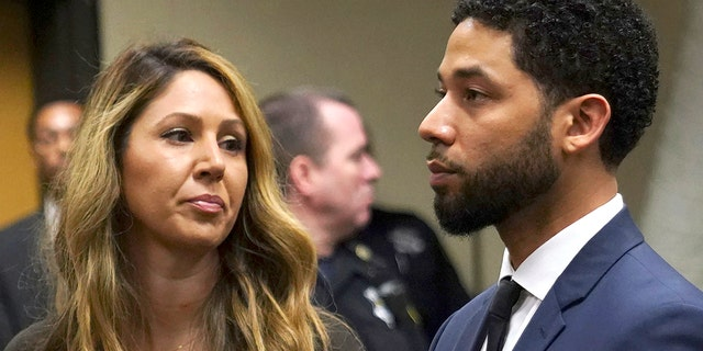 Actor Jussie Smollet appears with his attorney Tina Glandian, left, at a hearing for a judge assignment at Leighton Criminal Court in Chicago, Thursday, March 14, 2019.