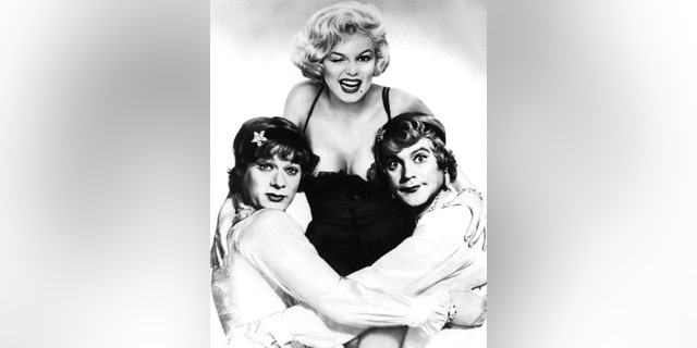 LOS ANGELES - 1959: Actress Marilyn Monroe, center, and co-stars Tony Curtis, left, and Jack Lemmon, right, pose for a publicity still for the United Artists movie ''Some Like It Hot'' in 1959 in Los Angeles, California.