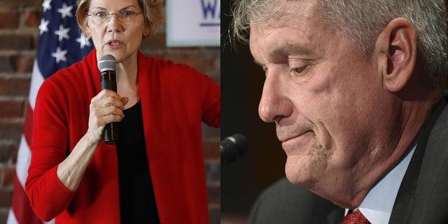 Sen. Elizabeth Warren, D-Mass., cheered at news that Wells Fargo CEO Tim Sloan announced his resignation Thursday. Associated Press<br>