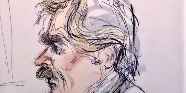 Felicity Huffman's husband, actor William H. Macy appears in this court sketch at an initial hearing for defendants in a racketeering case involving the allegedly fraudulent admission of children to elite universities, at the U.S. federal courthouse in downtown Los Angeles, California, U.S., March 12, 2019. REUTERS/Mona Edwards