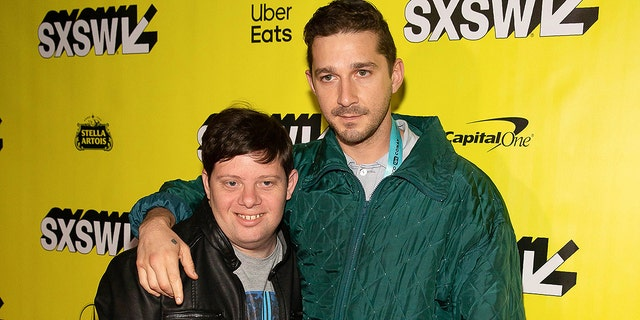 """Actors Shia LaBeouf (R) and Zack Gottsagen (L) attend the premiere of """"The Peanut Butter Falcon"""" during the 2019 SXSW conference and Festivals at the Paramount Theatre on March 9, 2019 in Austin, Texas."""