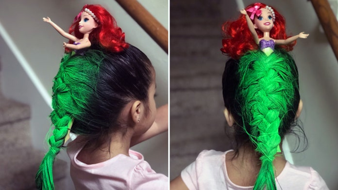 Girl with 'Little Mermaid'-inspired hairdo wins school's 'Crazy Hair Day'