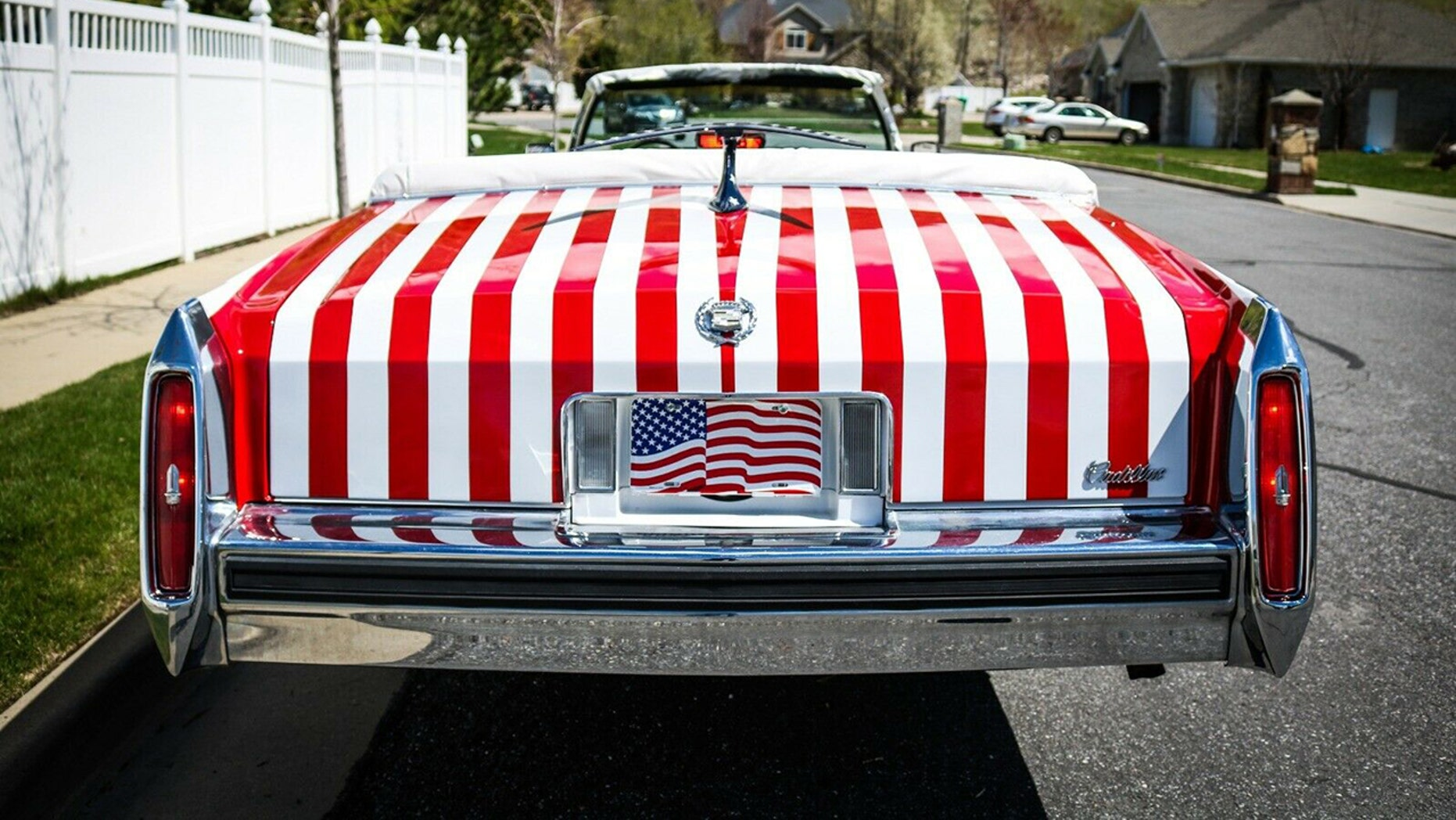 The American Flag Painted Cadillac Limousine rear view