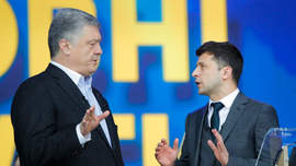 Rivals in Ukraine's presidential runoff debate at stadium