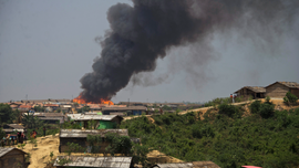 Fire guts shanties in Bangladesh Rohingya refugee camp