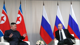 At Kim-Putin summit, hearty handshakes and manspreading