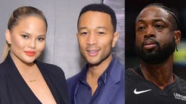 Chrissy Teigen, John Legend gifted giant photo of Dwyane Wade's courtside crash at NBA game