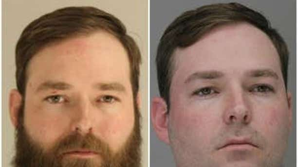 Austin Shuffield, 30, was seen in a viral video attacking a woman in a Texas parking lot during a confrontation. He was first arrested March 21 (left) on misdemeanor charges and was re-arrested a week later on a weapons charge.