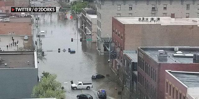 A view of downtown Davenport, Iowa Tuesday