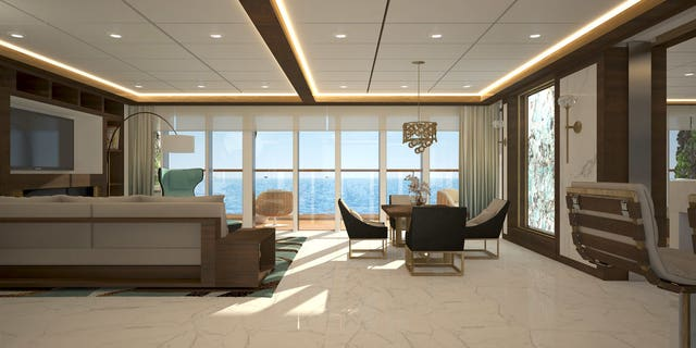 The luxury one- and two-bedroom units start at a cool $2.2 million for what's sure to be a semi-exclusive experience, as the ship is said to accommodate just 350 guests on board.
