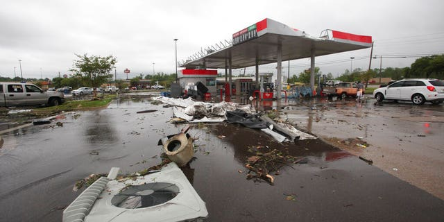 A gas station in Vicksburg, Mississippi, sustained damage on Saturday.