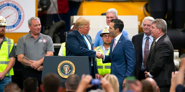"President Trump on Thursday said George P. Bush, the son of former Florida Gov. Jeb Bush, was a ""great guy"" as they met on stage in Crosy, Texas."