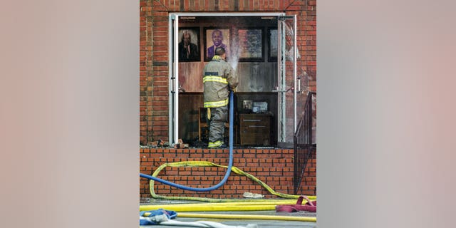 Firefighters and fire investigators respond to a fire at the Mount Pleasant Baptist Church last Thursday in Opelousas, La.