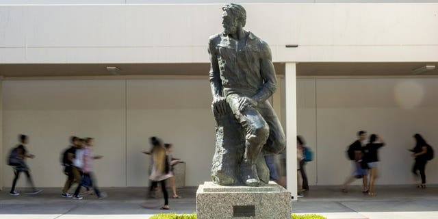 """This Sept. 20, 2017 photo shows the """"Prospector Pete"""" statue at California State University, Long Beach, Calif."""