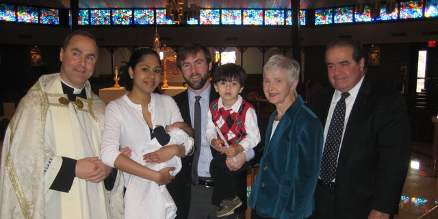 Chris Scalia, his father Antonin and family at the baptism of his son, Thanksgiving 2013