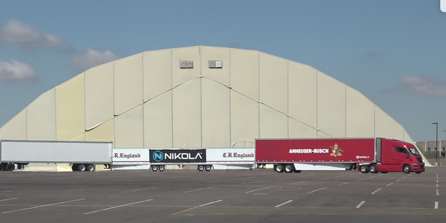 """Zero-emission semitrucks that don't operate on diesel but instead on hydrogen fuel cells were unveiled to the public for the first time at Nikola Motor's """"Nikola World 2019"""" event."""