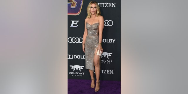 """Scarlett Johansson arrives at the premiere of """"Avengers: Endgame"""" at the Los Angeles Convention Center on Monday, April 22, 2019. (Photo by Jordan Strauss/Invision/AP)"""