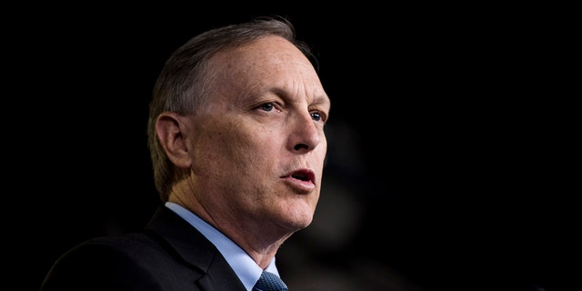 UNITED STATES - SEPTEMBER 6: Rep. Andy Biggs, R-Ariz., participates in the press conference calling on President Trump to declassify the Carter Page FISA applications on Thursday, Sept. 6, 2018. (Photo By Bill Clark/CQ Roll Call)