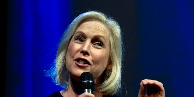 Democratic presidential candidate Sen. Kirsten Gillibrand, D-N.Y., speaks at an event in Washington on Monday. (Associated Press)