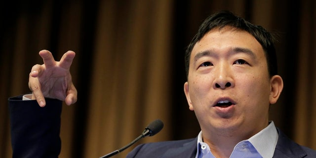 Presidential candidate and entrepreneur Andrew Yang speaks during the National Action Network Convention in New York, Wednesday, April 3, 2019. (Associated Press)