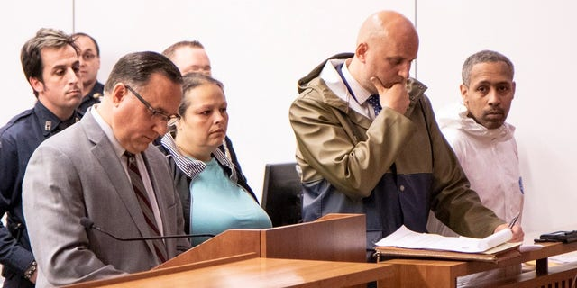 Michael Cammarata, far right, and his girlfriend Ayisha Egea, center, were arraigned together in Staten Island Criminal Court in St. George on Friday.
