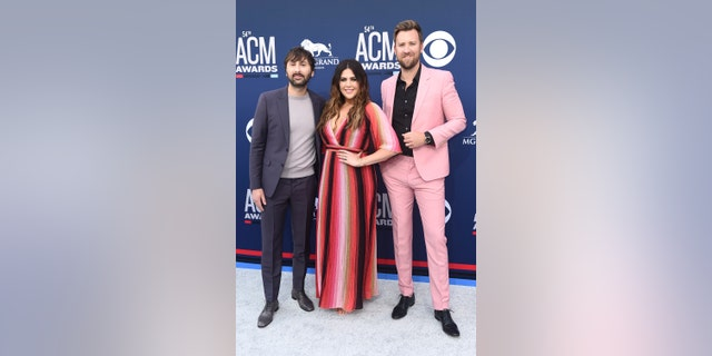 Dave Haywood, Hillary Scott and Charles Kelley of Lady Antebellum at the 2019 Academy of Country Music Awards.