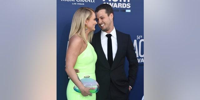 Miranda Lambert and Brendan McLoughlin arrive at the 54th annual Academy of Country Music Awards on April 7, 2019, in Las Vegas.