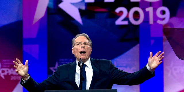 FILE--In this March 2, 2019, file photo, NRA executive vice president and CEO Wayne LaPierre speaks at Conservative Political Action Conference, CPAC 2019.