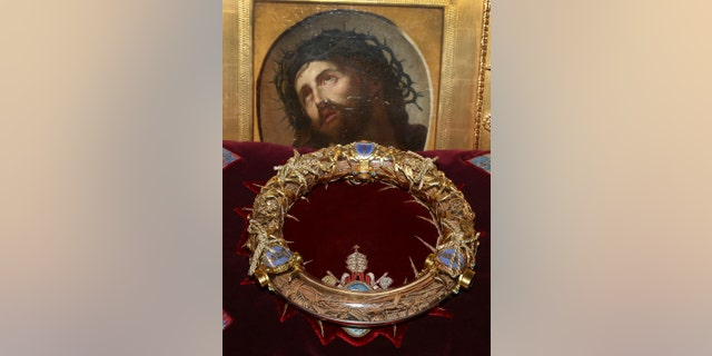 This file photo a crown of thorns which was believed to have been worn by Jesus Christ and which was bought by King Louis IX in 1239.