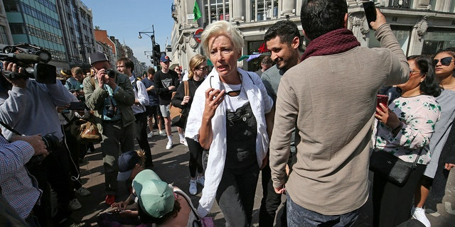 Actress Emma Thompson joins Extinction Rebellion demonstrators causing disruption at the major road junction Oxford Circus in central London, Friday April 19, 2019. The pressure group Extinction Rebellion is calling for continuing civic disobedience to demand government action on climate change.