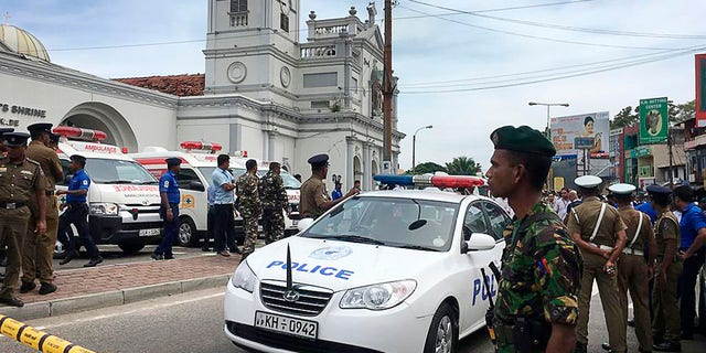 Sri Lankan Army soldiers secure the area around St. Anthony's Shrine after a blast in Colombo, Sri Lanka, Sunday, April 21, 2019 (AP Photo/Eranga Jayawardena)
