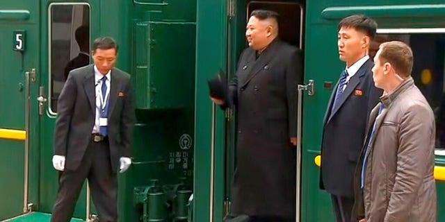 Kim Jong Un arrived in the Pacific port city of Vladivostok on Wednesday.