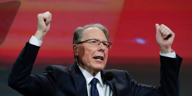 National Rifle Association Executive Vice President Wayne LaPierre speaks at the NRA Annual Meeting of Members in Indianapolis on Saturday. (Associated Press)