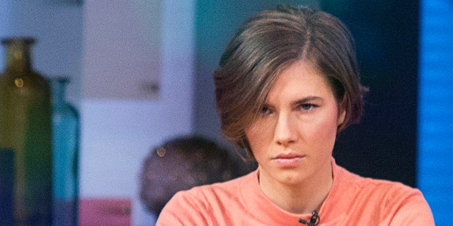 """Amanda Knox sitting before being interviewed on the set of ABC News' """"Good Morning America"""" in New York City, in January 2014."""