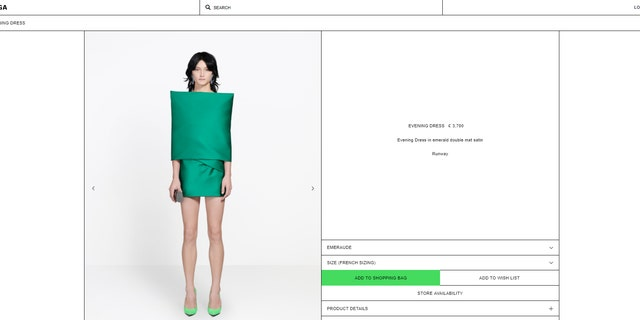 cf6373078 The dress, which debuted at Balenciaga's spring/summer show at Paris  Fashion Week in September, is also currently selling online for 3,700  pounds, ...