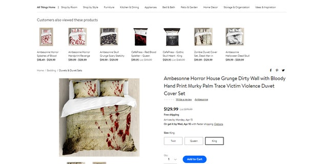 Ambesonne, an online retailer of textiles and home décor, features aline of bloodstain-print housewares.
