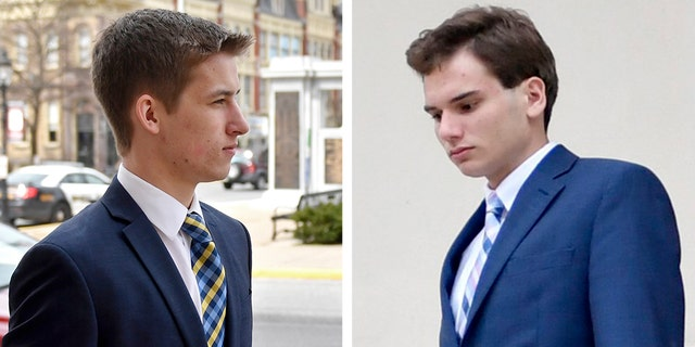 Left: Beta Theta Pi brother Michael Bonatucci enters the Centre County Courthouse Annex to be sentenced on Tuesday. Right: Joshua Kurczewski leaves the courthouse after a hearing last August.