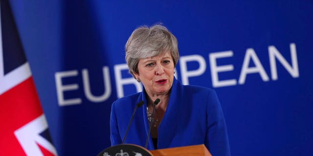 British Prime Minister Theresa May speaks during a media conference at the conclusion of an EU summit in Brussels, Thursday, April 11, 2019. European Union leaders on Thursday offered Britain an extension to Brexit that would allow the country to delay its EU departure date until Oct. 31. (AP Photo/Francisco Seco)
